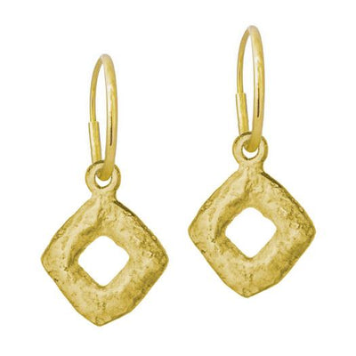 Gold Diamond Old Money • Endless Hoop Charm Earring-Brevard