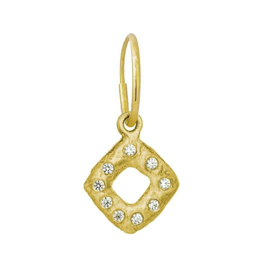 Gold Diamond Old Money with Stone • Endless Hoop Charm Earring-Brevard