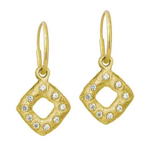 Gold Diamond Old Money Earring with Stone-Brevard