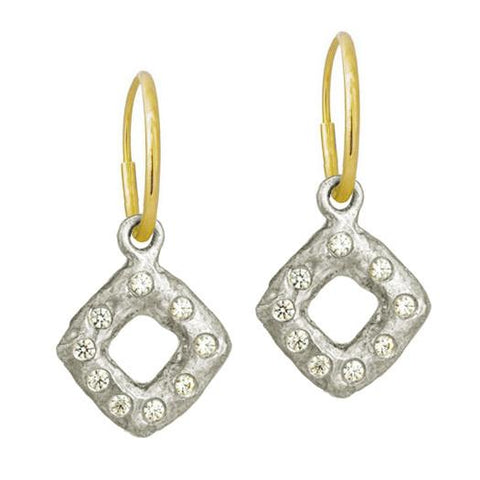 Diamond Old Money with Stone • Endless Hoop Charm Earring-Brevard