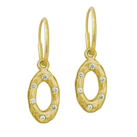 Gold Oval Old Money Earring with Stone-Brevard