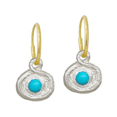 Turquoise Orchid Bulb • Endless Hoop Charm Earring-Brevard
