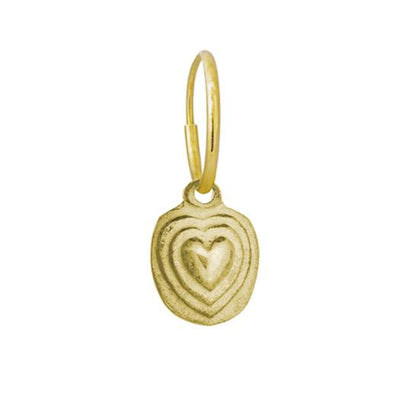 Gold Orchid Heart • Endless Hoop Charm Earring-Brevard