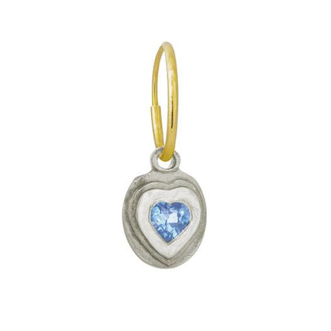 Orchid Heart Earring with Blue Topaz-Brevard