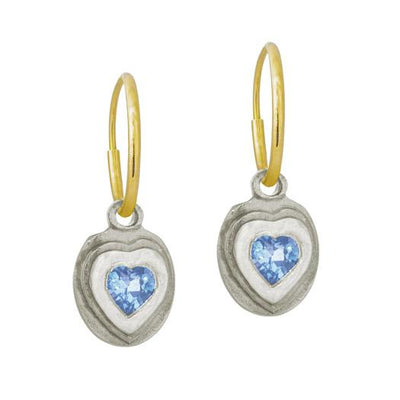 Orchid Heart with Blue Topaz • Endless Hoop Charm Earring-Brevard