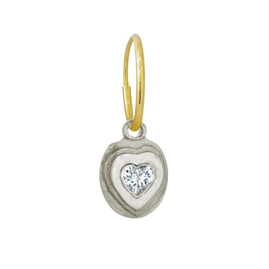 Orchid Heart with Stone • Endless Hoop Charm Earring-Brevard