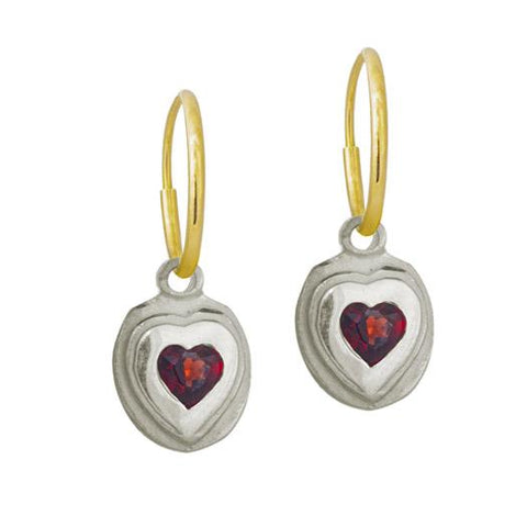 Orchid Heart Earring with Garnet-Brevard