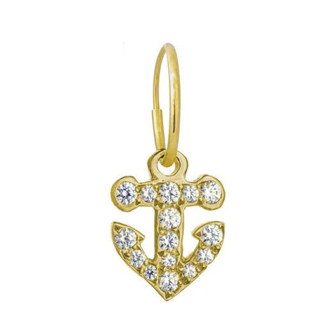 Gold Pavé Anchor Earring-Brevard