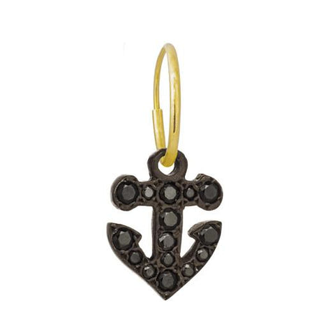 Oxidized Pavé Anchor Earring-Brevard