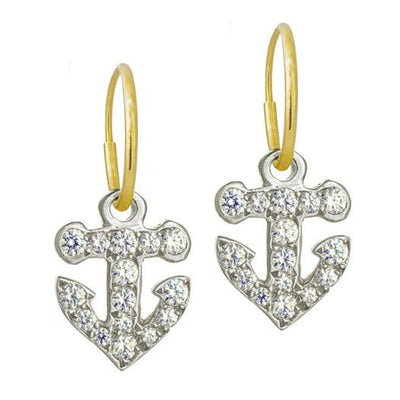 Pavé Anchor • Endless Hoop Charm Earring-Brevard