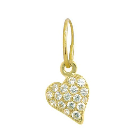 Gold Pave Apollo Heart Earring-Brevard
