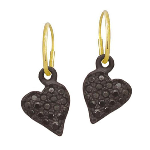 Black Pavé Apollo Heart Earring-Brevard