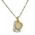 Two-Tone Pavé Coeur Heart Layered Tablet Necklace-Brevard