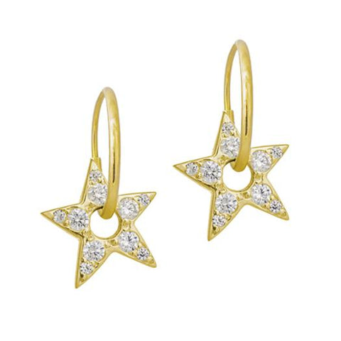 Gold Pavé Medium Dyanna Star • Endless Hoop Charm Earring-Brevard