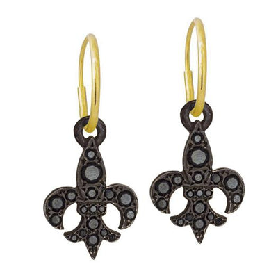 Black Diamond Pavé Fleur De Lis • Endless Hoop Charm Earring-Brevard