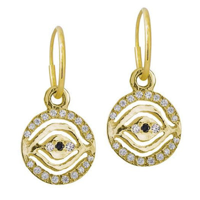 Gold Pave Eye of Horus Earring-Brevard