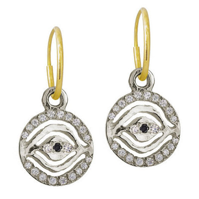 Pavé Eye of Horus • Endless Hoop Charm Earring-Brevard