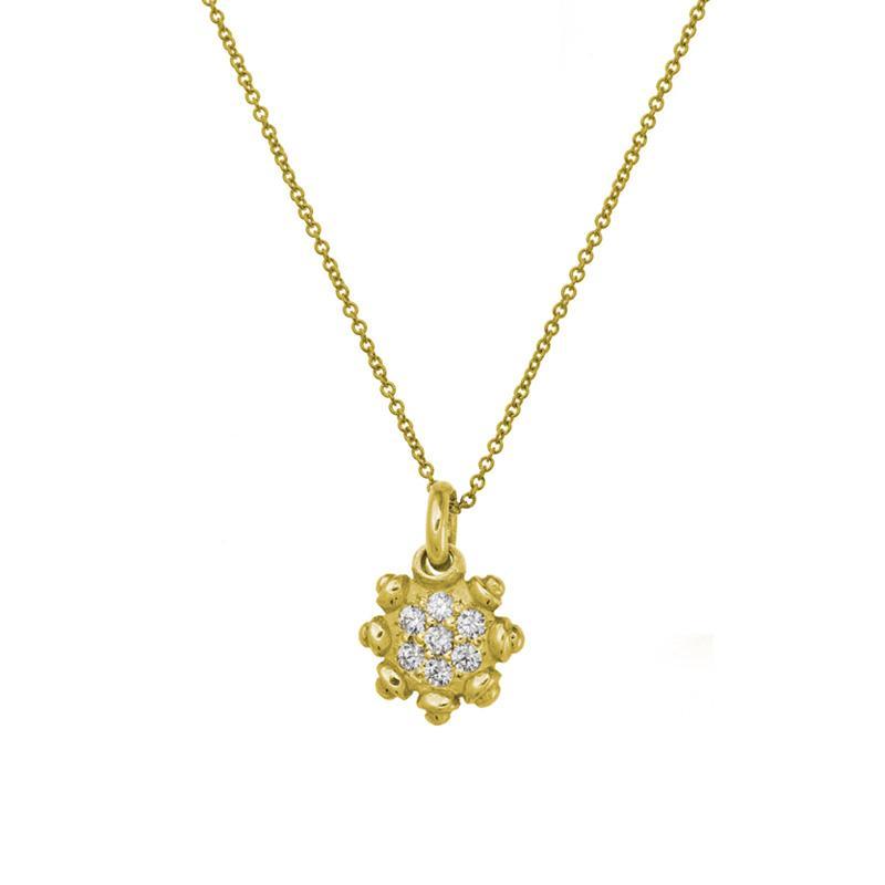 Gold Pavé Medium Sun Necklace-Brevard