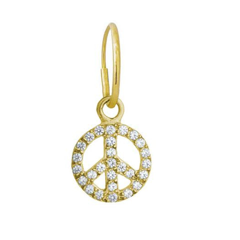 Gold Pavé Peace Earring-Brevard