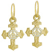 Gold Pavé Peace Cross • Endless Hoop Charm Earring-Brevard