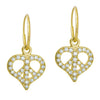 Gold Pavé Peace Love • Endless Hoop Charm Earring-Brevard