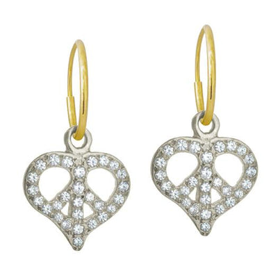 Pavé Peace Love • Endless Hoop Charm Earring-Brevard