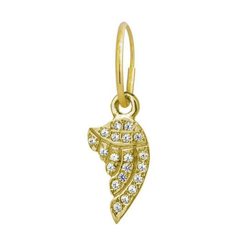 Gold Pave Sisters Wing Earring-Brevard