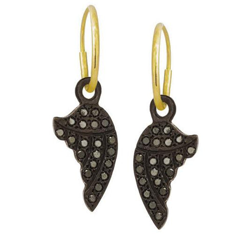 Black Diamond Pavé Sisters Wing Earring-Brevard
