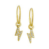 Gold Pavé Tiny Center Lightning Bolt • Endless Hoop Charm Earring-Brevard