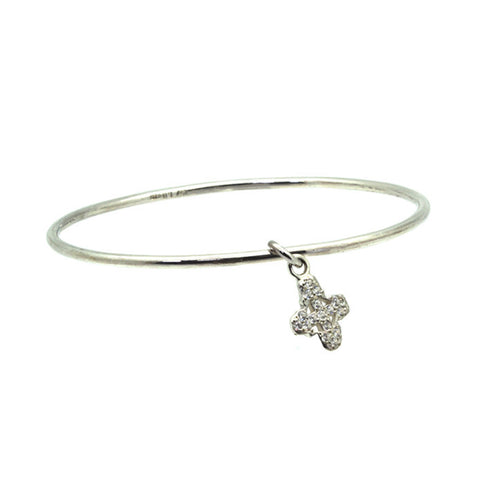 Pavé Tiny Signature Cross Charm Bangle-Brevard