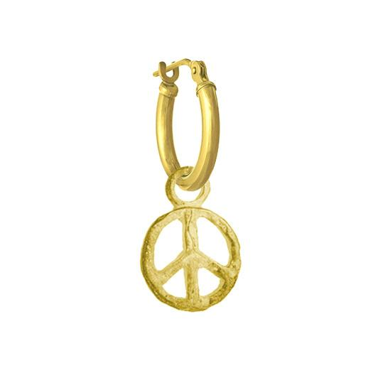 Gold Peace • Latch Hoop Charm Earring-Brevard