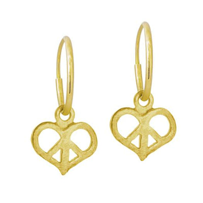 Gold Peace Love • Endless Hoop Charm Earring-Brevard