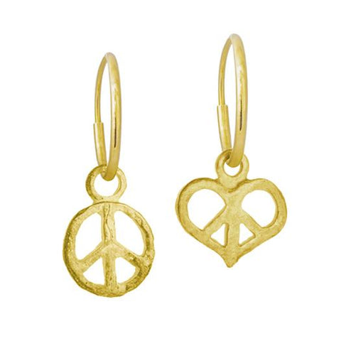 Gold Peace + Peace Love Mismatch Earring Pair-Brevard