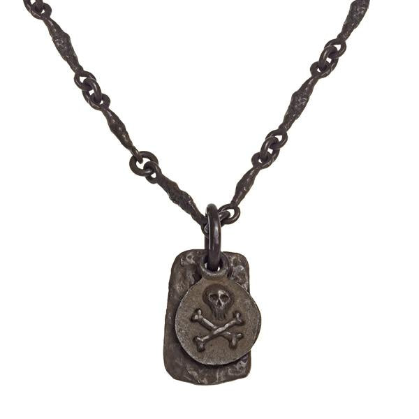 Oxidized Pirate Coin Layered Tablet Necklace-Brevard