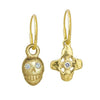 Gold Medium Pirate + Tiny Signature Cross Mismatch Earring Pair with Stones-Brevard
