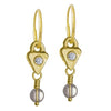 Gold Quartz Triangle Drop • Endless Hoop Charm Earring-Brevard