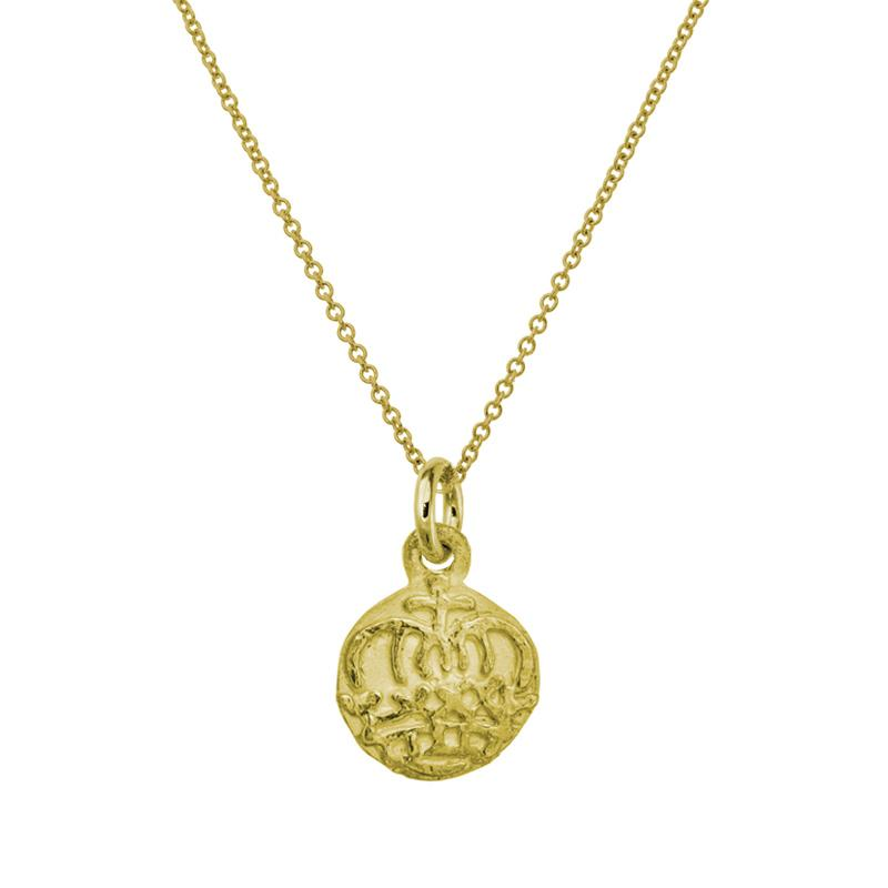 Gold Reina Crown Charm Necklace-Brevard