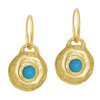 Gold Turquoise Roma • Endless Hoop Charm Earring-Brevard