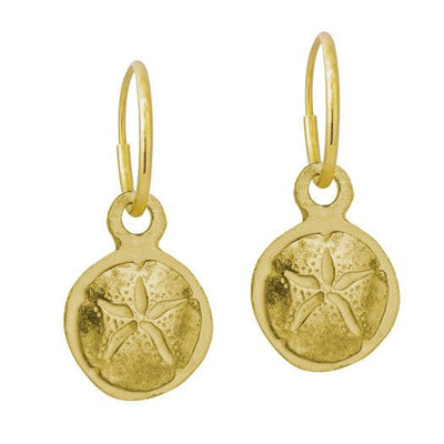 Gold Carrillo Sand Dollar • Endless Hoop Charm Earring-Brevard