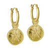 Gold Carrillo Sand Dollar • Latch Hoop Charm Earring-Brevard