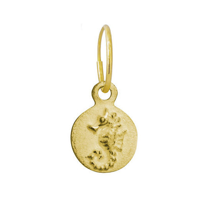 Gold Avalon Seahorse • Endless Hoop Charm Earring-Brevard