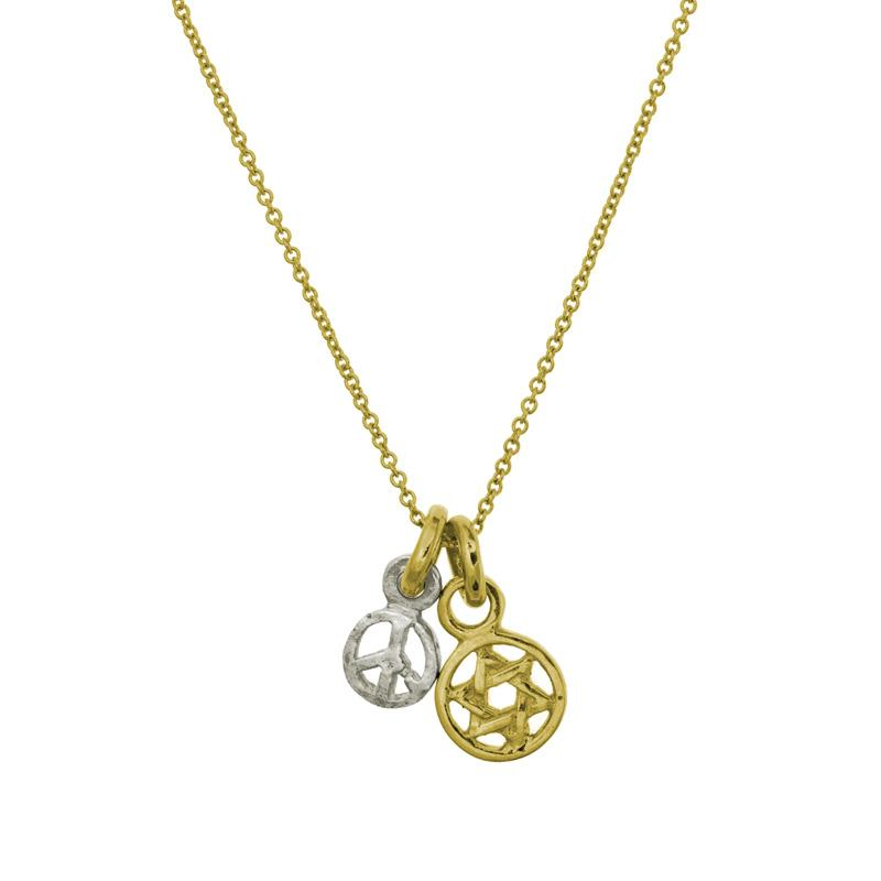 Two-Tone Shalom Double Charm Necklace-Brevard