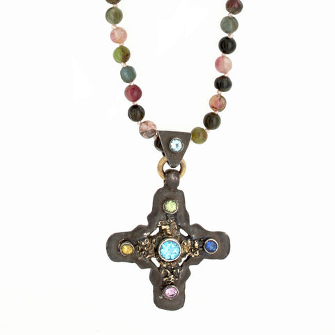 Oxidized Signature Cross Multi Tourmaline Long Necklace-Brevard