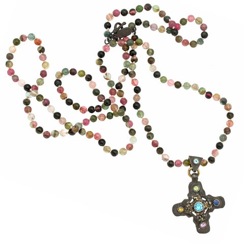 Signature Cross Multi Tourmaline Long Necklace-Brevard
