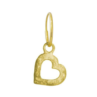 Gold Small Compass Heart • Endless Hoop Charm Earring-Brevard
