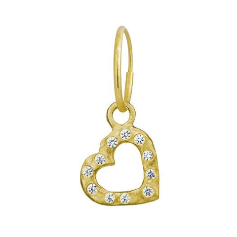 Gold Small Compass Heart Earring with Stones-Brevard