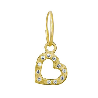 Gold Small Compass Heart with Stones • Endless Hoop Charm Earring-Brevard