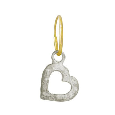 Small Compass Heart • Endless Hoop Charm Earring-Brevard