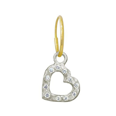 Small Compass Heart with Stones • Endless Hoop Charm Earring-Brevard