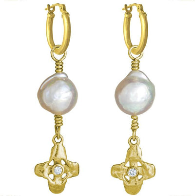 Gold Sprint with Baroque Pearl • Latch Hoop Charm Earring-Brevard